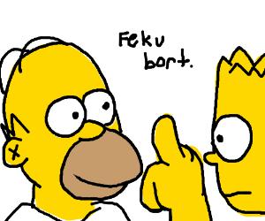 Homer flips off Bart again