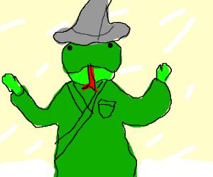 Lizard wizard casting a blizzard