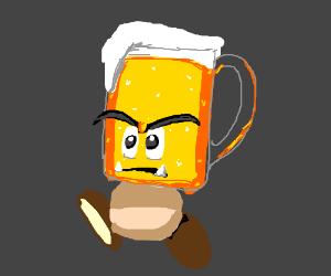 Mario goomba with beer head