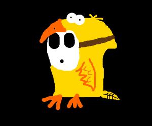 Shyguy (mario) in a bird costume