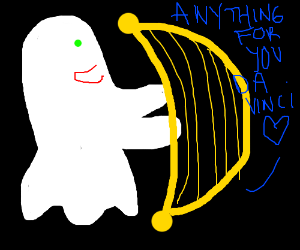 Ghost playing the harp for DaVinci