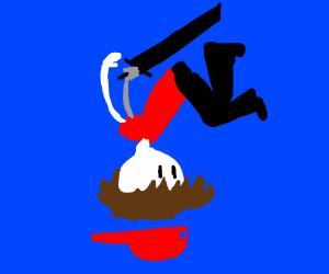 Boy falling through an abyss