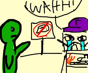Green man hushes the Derail Bot
