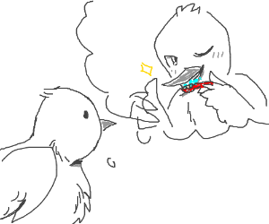 Bird thinks about brushing its teeth