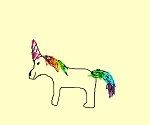 Unicorn or a horse? (Or a dog with a horn?)