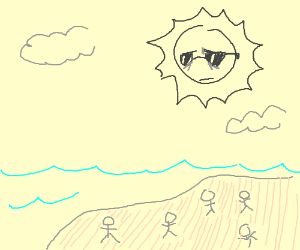 Cool yet tired sun shines on a beach of people