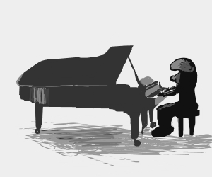 smurf on the piano