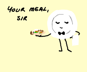 An AU, where plates serve food on people