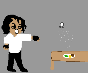 Michael Jackson salts his spaghetti