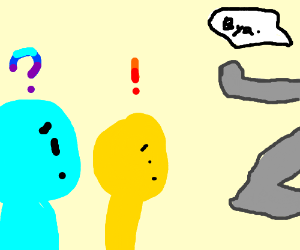 grey man gets bored, walks out of panel