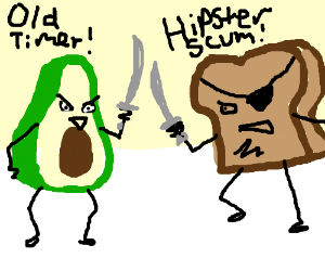 Avocado and triggered pirate toast fight