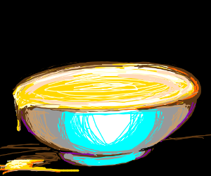 A cheesy soup drips out of a bowl
