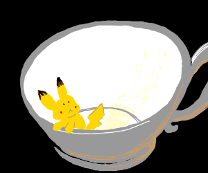 a very small pikachu is stuck in a cup