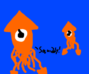 Squid father scolds his son