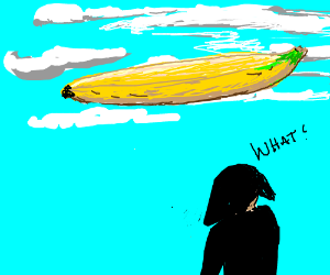 Emo guy doesn't understand floating banana