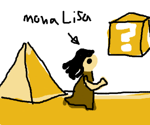 Mona Lisa in a Mario desert level