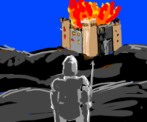 Knight in front of  burning castle