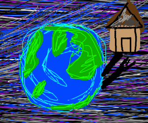 earth holding a house