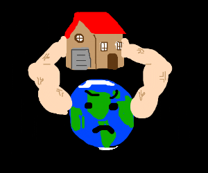 Planet holds house with strong arms