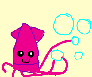 Kawaii Squid Plays with Bubbles!