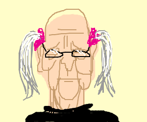 Old guy with glasses and pigtails