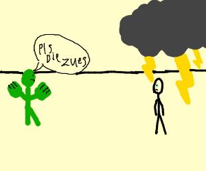 Stick hulk asks zuez to die