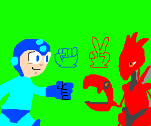 Megaman VS Scizor(Pokemon)/Rock beats scissors