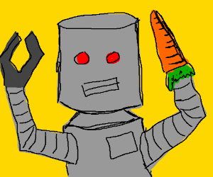 Robot has big hand, carrot