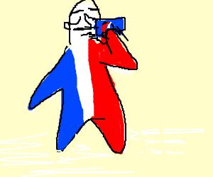 Physical embodiment of France drinks pepsi