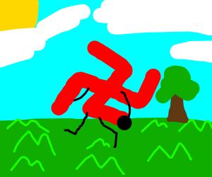A Swastika enjoys a walk in the sun
