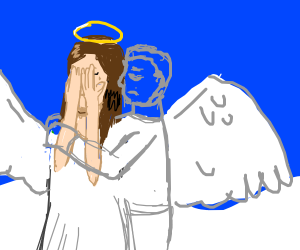 Ghost man hugs weeping angel