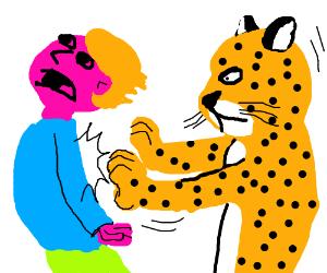 Shoving leopard