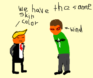 donald trump and a blinded andrew hussie