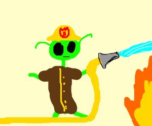 An alien firefighter