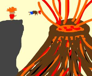 troll throws boy into volcano