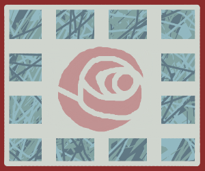 A Spiked square with a rose in the middle