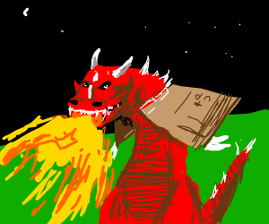 Red fire breathing dragon with cardboard wings