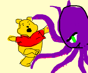 pooh gets attacked by purple octopus