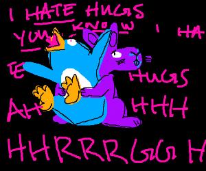 Purple bunny hugs penguin tip it explodes