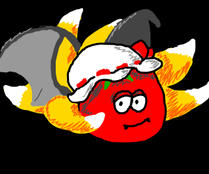 Tomato with a hat and multiple fox tails