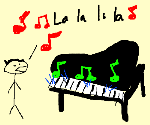 a man sings while a piano plays itself