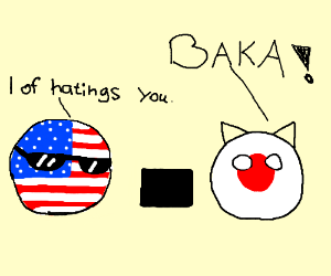 Japan and the U.S fighting next to a box