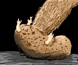 Foot going into potato