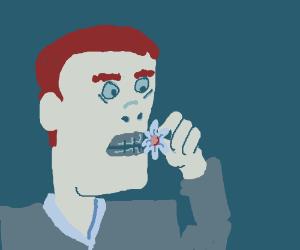 Jaws eats a flower