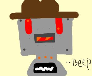 Robot in a cowboy hat
