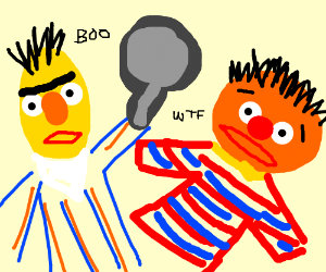 Bernie scares Ernie with a frying pan