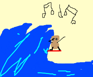 A peanut dancing on a surfboard