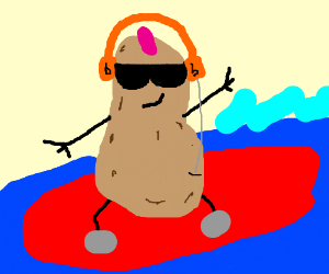 Peanut surfs while listning to music