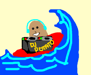 A DJ potato with round sneakers surfing
