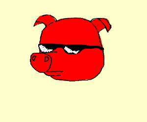 Red humanoid with long snout and sunglasses